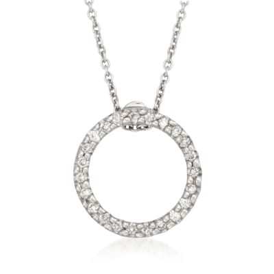 Roberto Coin .10 ct. t.w. Diamond Open Circle Pendant Necklace in 18kt White Gold