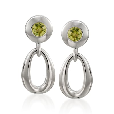 "Zina Sterling Silver ""Contemporary"" .50 ct. t.w. Peridot Open Oval Drop Earrings"