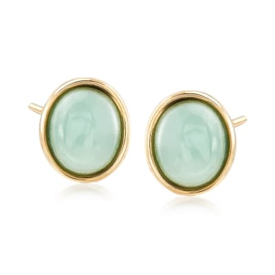 Jade Oval Stud Earrings in 14kt Yellow Gold