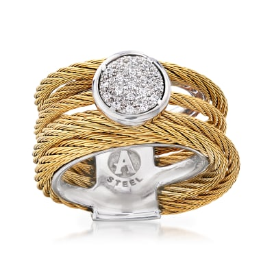 "ALOR ""Classique"" .10 ct. t.w. Diamond Yellow Stainless Steel Cable Ring with 18kt White Gold"