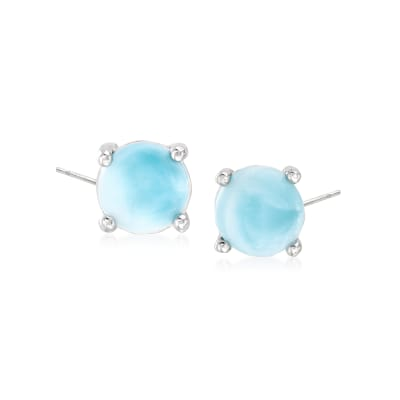 Larimar Round Earrings in Sterling Silver