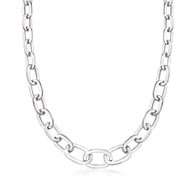 Sterling Silver Graduated Paper Clip Link Necklace