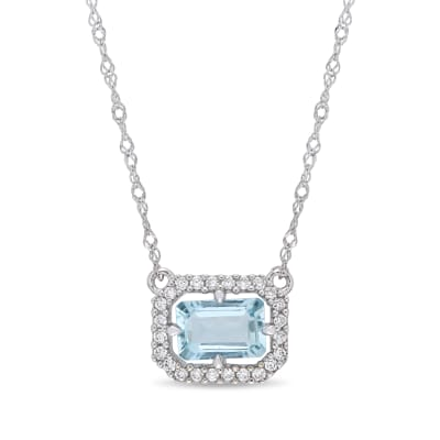 .50 Carat Aquamarine and Diamond-Accented Necklace in 14kt White Gold
