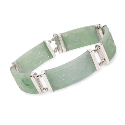 Jade Carved Dragon Bracelet in Sterling Silver