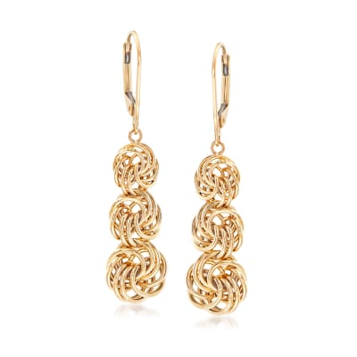 Graduated Rosette-Knot Drop Earrings in 14kt Yellow Gold