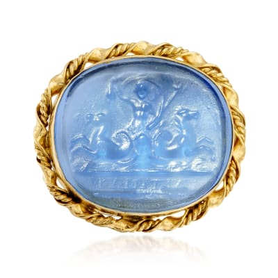 Italian Blue Venetian Glass Intaglio Ring in 18kt Gold Over Sterling