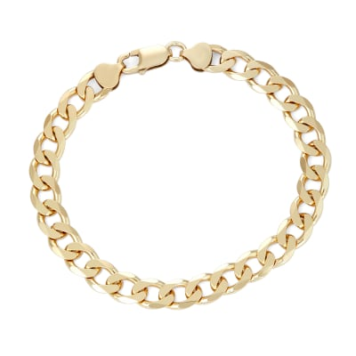 Italian Men's 18kt Gold Over Sterling Curb-Link Bracelet