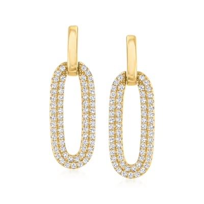 .60 ct. t.w. Pave CZ Oval Drop Earrings in 18kt Gold Over Sterling