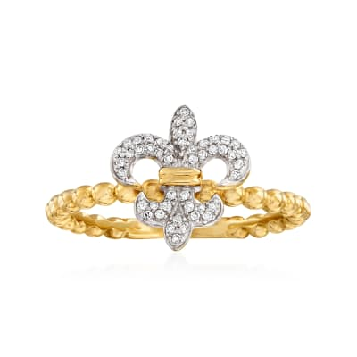 .10 ct. t.w. Diamond Fleur-De-Lis Beaded Ring in 14kt Yellow Gold