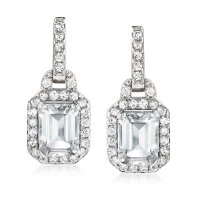 5.80 ct. t.w. White Topaz Drop Earrings in Sterling Silver