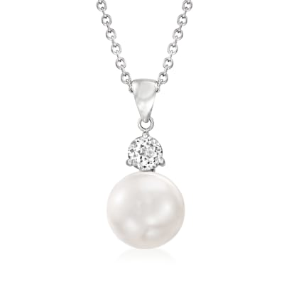 11-11.5mm Cultured Pearl and .70 Carat White Topaz Pendant Necklace in Sterling Silver