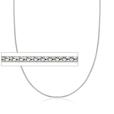 1mm 14kt White Gold Adjustable Popcorn Chain Necklace