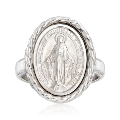 Italian Sterling Silver Miraculous Medal Oval Ring