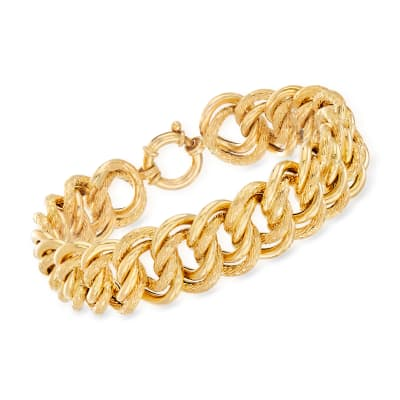 Italian 18kt Yellow Gold Large Interlocking-Link Bracelet