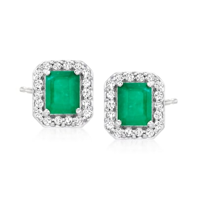 1.10 ct. t.w. Emerald and .25 ct. t.w. Diamond Stud Earrings in 14kt White Gold