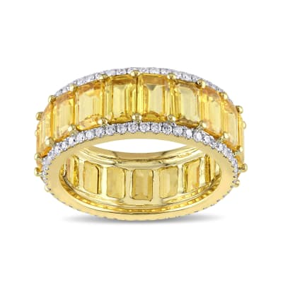 10.00 ct. t.w. Yellow Sapphire and .64 ct. t.w. Diamond Eternity Band in 14kt Yellow Gold
