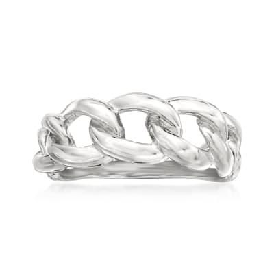 Italian Sterling Silver Twist Link Ring