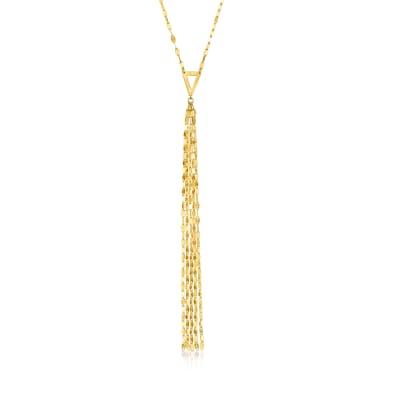 14kt Yellow Gold Mirror-Link Tassel Y-Necklace