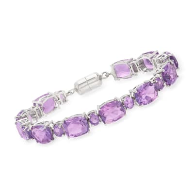 34.40 ct. t.w. Amethyst Bracelet in Sterling Silver with Magnetic Clasp