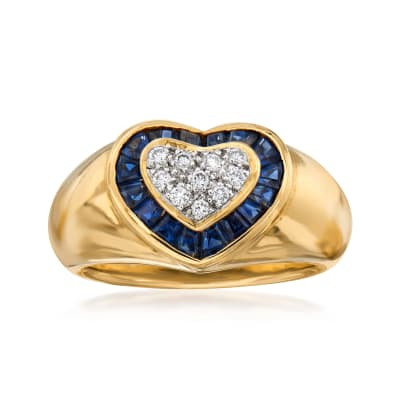 C. 1980 Vintage .80 ct. t.w. Sapphire and .15 ct. t.w. Diamond Heart Ring in 18kt Yellow Gold