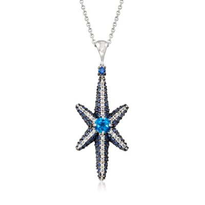 4.20 ct. t.w. Multi-Gemstone Star Pendant Necklace in Sterling Silver