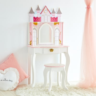 """Child's """"Dreamland"""" Castle Play Vanity Set in Pink and White"""