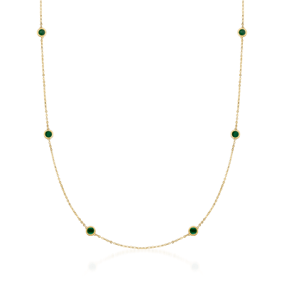 Italian Green Enamel Station Necklace in 14kt Yellow Gold