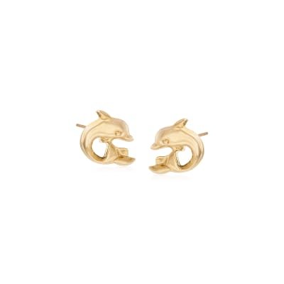 Child's 14kt Yellow Gold Dolphin Stud Earrings