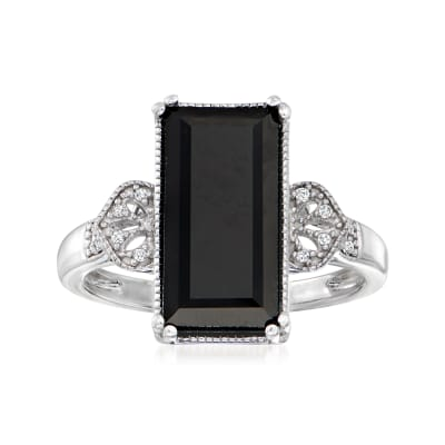 Black Onyx Ring with Diamond Accents in Sterling Silver