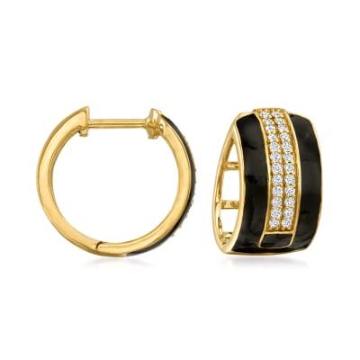 .25 ct. t.w. Diamond and Enamel Hoop Earrings in 18kt Gold Over Sterling