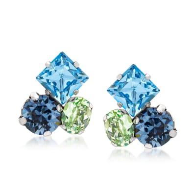 Italian Blue and Green Swarovski Crystal Earrings in Sterling Silver