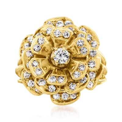C. 1960 Vintage 1.25 ct. t.w. Diamond Flower Ring in 14kt Yellow Gold
