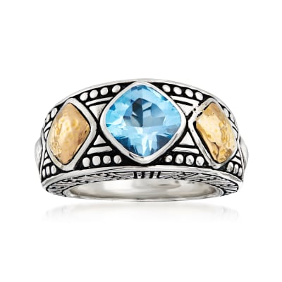 1.20 Carat Sky Blue Topaz Ring in Sterling Silver and 18kt Yellow Gold