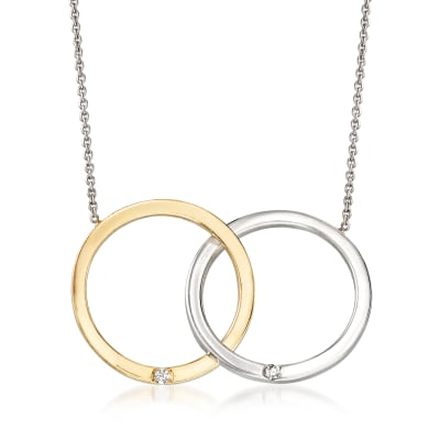 Roberto Coin 18kt Two-Tone Gold Double Circle Necklace with Diamond Accents