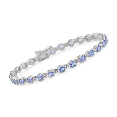 4.50 ct. t.w. Tanzanite Tennis Bracelet in Sterling Silver