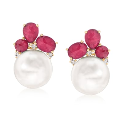 14-14.5mm Cultured Pearl and 1.00 ct. t.w. Ruby Doublet Earrings with .17 ct. t.w. Diamonds in 14kt Yellow Gold
