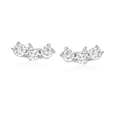 .31 ct. t.w. Diamond Curved Bar Stud Earrings in 14kt White Gold