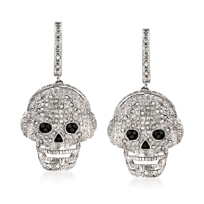 .51 ct. t.w. Diamond Skull Drop Earrings in Sterling Silver