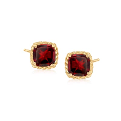 3.10 ct. t.w. Garnet Stud Earrings in 14kt Yellow Gold