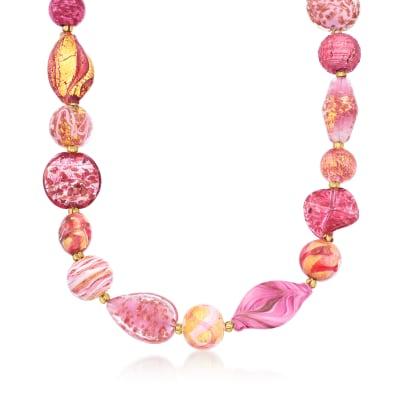 Italian Pink and Gold Murano Glass Bead Necklace in 18kt Gold Over Sterling