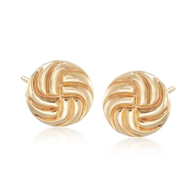 14kt Yellow Gold Swirl Button Stud Earrings