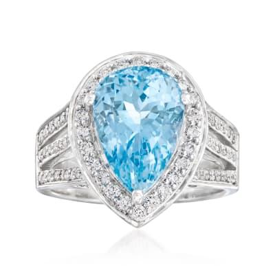 5.00 Carat Aquamarine and .63 ct. t.w. Diamond Ring in 14kt White Gold