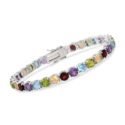 18.60 ct. t.w. Multi-Gemstone Tennis Bracelet in Sterling Silver