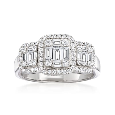 .86 ct. t.w. Baguette and Round Diamond Cluster Ring in 18kt White Gold