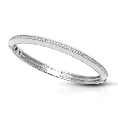 "Belle Etoile ""Tenuto"" White Enamel and 1.77 ct. t.w. CZ Bangle Bracelet in Sterling Silver"