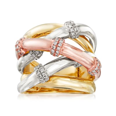 .50 ct. t.w. Diamond Station Crisscross Ring in 14kt Tri-Colored Gold