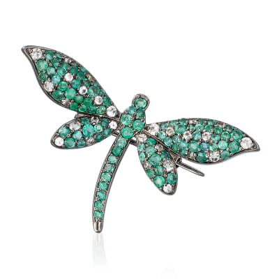 2.00 ct. t.w. Emerald and .70 ct. t.w. White Topaz Dragonfly Pin in Sterling Silver