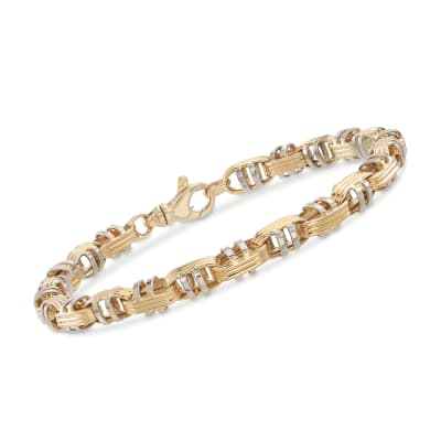 Italian Men's 14kt Two-Tone Gold Oval Link Bracelet