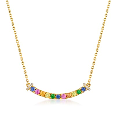 .40 ct. t.w. Multicolored Sapphire Necklace with Tsavorite and Diamond Accents in 14kt Yellow Gold