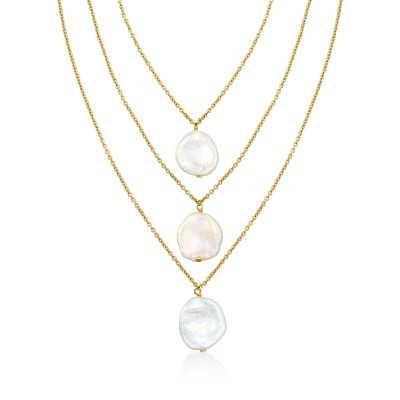 13-14mm Cultured Pearl Multi-Strand Necklace in 18kt Gold Over Sterling
